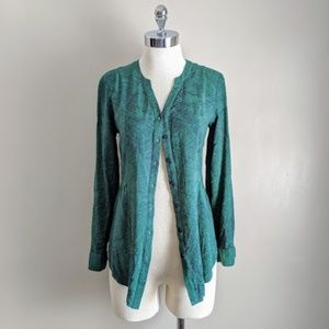 Green w/Blue Pattern Pleated Button Front Blouse